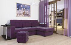 """Диван-кровать угловой АТЛАНТА, экокожа Tresor Viola (фиолетовый) Стильный, компактный, угловой диван-кровать """"Атланта"""" (фиолетовый), экокожа с деревянными подлокотниками и ящиком для белья, механизм """"«дельфин»"""", прекрасное решение для гостиных комнат. Модель обладает высочайшим комфортом посадки и спального места при компактных размерах в разложенном варианте. В положении """"кровать"""", диван имеет заднюю планку, которая отделяет спальное место от стены."""