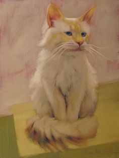 Uncle Blue white cat painting, painting by artist Diane Hoeptner
