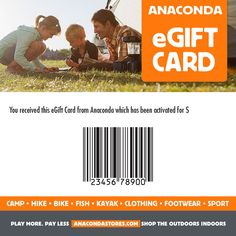 Surprise a loved one, a partner or a friend who loves the great outdoors with Anaconda eGift Card. Learn more about Anaconda eGift cards online today. Kayaking Outfit, Anaconda, The Great Outdoors, Hiking, Cards, Xmas, Store, Christmas, Tent