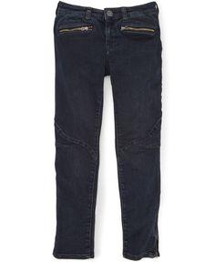Ralph Lauren Girls' Moto Jeans