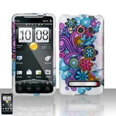 Rubberized Purple Wave Flower Snap on Design Case Hard Case Skin Cover Faceplate for Sprint Htc Evo 4g