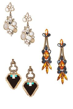 """From Oprah.com:  The Modern Chandelier    The latest incarnation of the classic earring is structured and geometric. Wear them during the day—they're not just for evening anymore.    Clockwise, from top left: Emitations, $18; Sequin New York, $98; Auden, $278    Tip: Skip a necklace with these earrings to avoid the """"crown jewels"""" look.    Read more: http://www.oprah.com/style/New-Spring-2012-Fashion-Trends-to-Try/6#ixzz1paJi4m9M"""