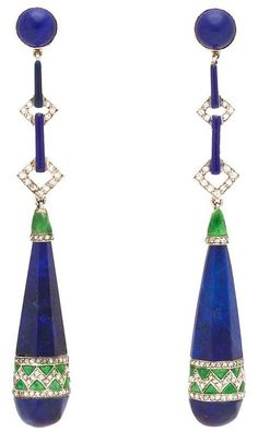 Art Deco Enamel Lapis Diamond Platinum Earrings