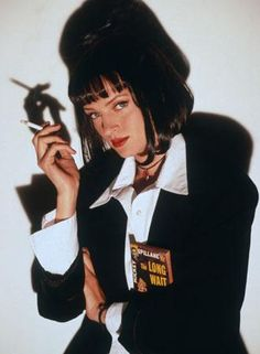 Uma Thurman in the role of Mia Wallace for the film Pulp Fiction. Quentin Tarantino, Tarantino Films, Bd Pop Art, Fritz Lang, John Travolta, Film Serie, Catwoman, Good Movies, I Movie