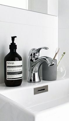 Via NordicDays.nl | Sara Medina Lind | Bathroom | White | Aesop