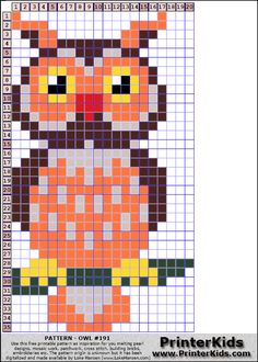 Owl perler bead pattern Owl Patterns, Bead Loom Patterns, Perler Patterns, Peyote Patterns, Weaving Patterns, Cross Stitch Owl, Cross Stitching, Cross Stitch Embroidery, Cross Stitch Patterns