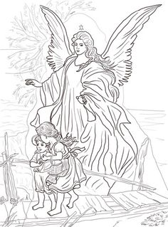 Click to see printable version of Children Are Protected by Guardian Angel Coloring page