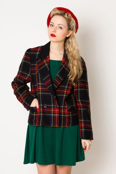 Pure new wool checked jacket - VintageForEver - Kostiumy i blazery