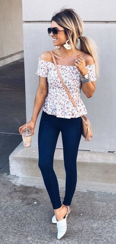 white and red off-shoulder shirt and blue denim fitted jeans #spring #outfits