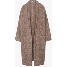 Flecked Cotton-Blend Coat (€86) ❤ liked on Polyvore featuring outerwear, coats, brown coat, long sleeve coat and mango coat
