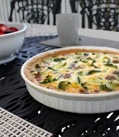 Broccoli and Breakfast Sausage Quiche, perfect to make ahead for a brunch or breakfast gatering.