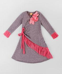 Another great find on #zulily! Gray & Pink Ruffle Wrap Dress - Toddler & Girls #zulilyfinds