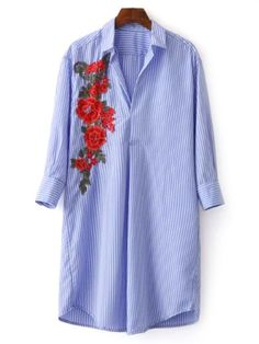AD : Striped Floral Embroidered Tunic Shirt Dress - BLUE   Style: Casual   Material: Cotton Blend   Silhouette: Straight   Dresses Length: Knee-Length   Collar-line: Shirt Collar   Sleeves Length: 3/4 Length Sleeves   Decoration: Embroidery   Pattern Type: Striped   With Belt: No   Season: Fall   Weight: 0.1770kg   Package: 1 x Dress