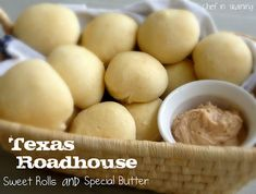i LOVE texas roadhouse b/c of their rolls & butter. here's a recipe to try at home!! YES!!!