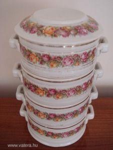 Antik porcelán rózsás ételhordó ételes - 45000 Ft