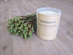 Watermelon - Eco & Handmade Soy Candle      A fruity, fresh treat of watermelon, tangerine & peach with the     freshness of cucumber and sweet vanilla.  Handmade and poured with natural eco soy wax by Velvety in Bunyip,  Australia.  Our tumblers burn for approximately 33 hours and hold 165 gr of eco soy  wax.        * SHIPPING INFORMATION     * EMAIL ME WHEN BACK IN STOCK