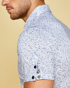 Flecked cotton polo shirt - Blue | Tops and T-shirts | Ted Baker UK