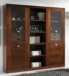 Vitrina con librería y con 4 puertas y 4 cajones interiores, realizada en madera de nogal americano . Mueble auxiliar para salones y comedores. Medidas: 190x40x191 cm.