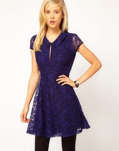 ASOS Skater Dress In Lace With Collar Detail