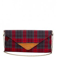 Women's Red Plaid Faux Leather Plaid Clutch | Paloma by Sole Society