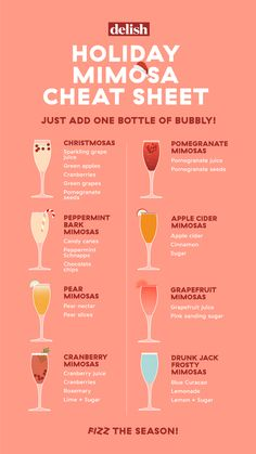 Holiday Mimosa Cheat Sheet Bust out the bubbly—and toast to the season. Holiday Mimosa Cheat Sheet Bust out the bubbly—and toast to the season. Holiday Drinks, Party Drinks, Fun Drinks, Yummy Drinks, Brunch Drinks, Wine Tasting Party, Brunch Party, Easy Christmas Cocktails, Christmas Drinks Alcohol