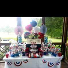 4th of July (Fourth) Patriotic Red White & Blue candy dessert buffet bar by Sweet Event Design www.sweeteventdesign.com