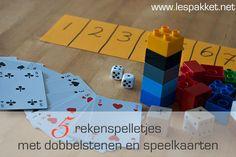 Je kunt leuke rekenspelletjes spelen met dobbelstenen, speelkaarten en enkele andere materialen. Leg de spellen uit en laat de kinderen zelfstandig spelen!