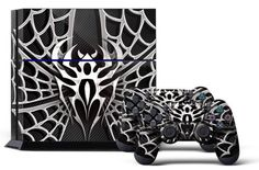 PS4 Designer Skin for Sony PlayStation 4 Console System plus Two(2) Decals for: PS4 Dualshock Controller - Widow Maker Chrome & Black - http://www.rekomande.com/ps4-designer-skin-for-sony-playstation-4-console-system-plus-two2-decals-for-ps4-dualshock-controller-widow-maker-chrome-black-2/