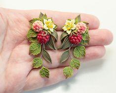 Raspberry Earrings. Red berry earrings. Polymer clay jewelry.