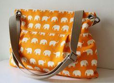 Women Messenger Bag Cross Body Purse wtih  Zipper closure - Orange elephant (there is a pale taupe elephant fabric, too) $60.00