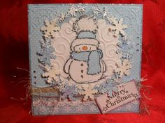 Spyder's Corner: - Loved the tiny icicles providing the border effect around the central image. Christmas Cards 2018, Christmas Card Crafts, Homemade Christmas Cards, Xmas Cards, Christmas Snowman, Handmade Christmas, Homemade Cards, Holiday Cards, Penny Black Cards
