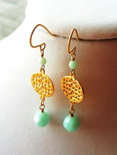 Mint Green And Gold Filagree Earrings Mint Green by Meant2Bead, $28.00