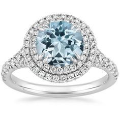 Gala Aquamarine Engagement Ring - 18K White Gold