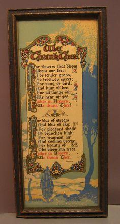 "Vintage Art Deco Buzza Motto Print Ralph Waldo Emerson Poem ""We Thank Thee"""