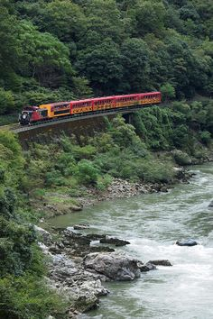 Sagano Scenic Railway Tram running along Hozu River, Kyoto, Japan トロッコ列車