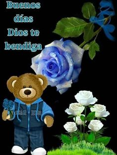 Morning Blessings, Blue Roses, Spanish Quotes, Good Morning, Blessed, Teddy Bear, Toys, Hair Cuts, Shape