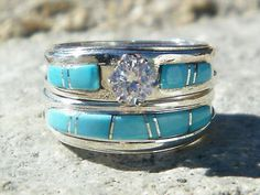 Native American Indian Navajo Wedding Rings Band Turquoise CZ Muskett Sz 4 in Collectibles, Cultures & Ethnicities, Native American: US Wedding Rings For Women, Wedding Sets, Wedding Ring Bands, Wedding Jewelry, Trendy Wedding, Wedding Unique, Camo Wedding, Turquoise Wedding Rings, Turquoise Rings