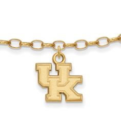 with Secure Lobster Lock Clasp Solid 925 Sterling Silver with Gold-Toned University of Pittsburgh Anklet 9 2.5mm