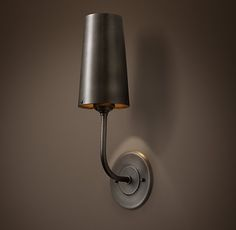 Restoration Hardware, Modern Taper Metal Sconce, Aged Steel, Damp UL Listed, $119