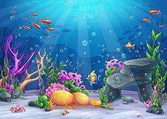Cartoon de vetor material de Fundo Fundo do Mar, Vector, Cartoon, Azul, Imagem de fundo