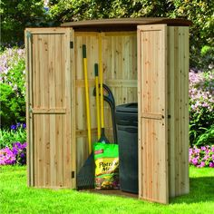 This walk-in resin and wood storage shed is constructed with natural cedar planks. It looks quite elegant, actually. It's a sturdy and safe place to store outdoor tools, equipment and furnishings, too.