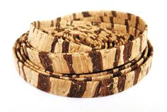 10mm Flat Cork Cord Zebra Look Natural Brown Gold Vegan by vess65