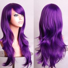 Women's Cosplay Curly Wigs With Bangs Long Curly Hair Fluffy Curly Hair cm) Big Wavy Hair, Full Hair, Straight Hair, Wavy Curls, Long Curls, Long Hair Wigs, Curly Wigs, Purple Wig, Dark Purple