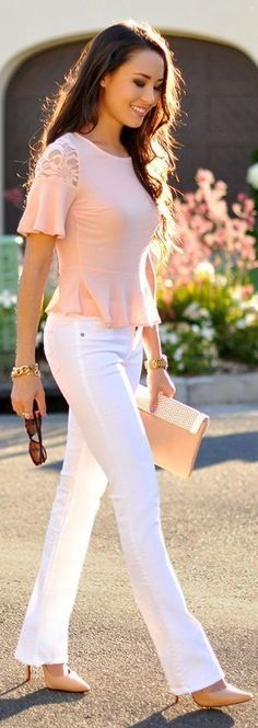 Looks con pantalon blanco - ideal para verano, un look fresco para ir a trabajar