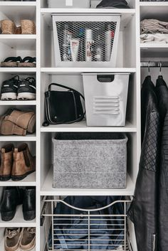 Tips to maximize storage in entry way closet organization for a family- these wire baskets are a great alternative to drawers for kids! Shoe Cubby, Shoe Storage, Entry Closet, Walk In Closet, Basket Drawers, Big Basket, Books For Moms, Master Bedroom Closet, Fancy Shoes