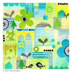 Sketchbook explorations - Julie Hamilton Designs {artistically afflicted blog}: Patchwork motif in Photoshop (for art journal)