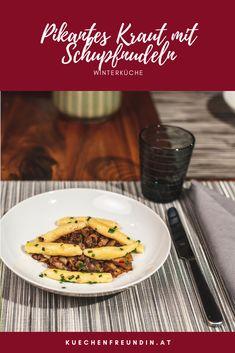 Schupfnudeln sind österreichische Gnocchi. Sie werden aus einem feinem Kartoffelteig gemacht. In diesem Rezept werden sie mit meinem pikanten Kraut serviert. Das Kraut wird mit Schinkenspeck und Zwiebeln geschmort und mit Aceto Balsamico abgelöscht - Schmeckt hervorragend. Foodblogger, Post, Kraut, Gnocchi, Beef, Vegetarian Recipes, Best Healthy Recipes, Yummy Food, Meat