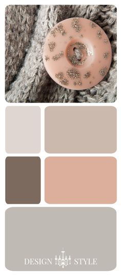 This image of a sweater and button makes me feel all warm and cozy. It also inspired this color scheme of silvered cream, greige (gray beige), brown, blush pink and gray. Julana