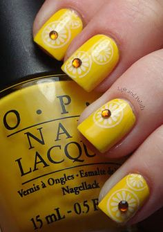 Golden sunny nails with gems