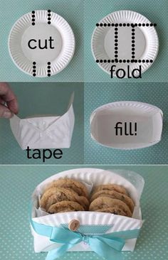 DIY cookie basket made from a paper plate - Clever home-made gift basket for baked goodies! -easy DIY cookie basket made from a paper plate - Clever home-made gift basket for baked goodies! Cookie Baskets, Food Baskets, Cheap Baskets, Easter Baskets, Kitchen Gift Baskets, Making Baskets, Diy Gift Baskets, Egg Basket, Paper Plates